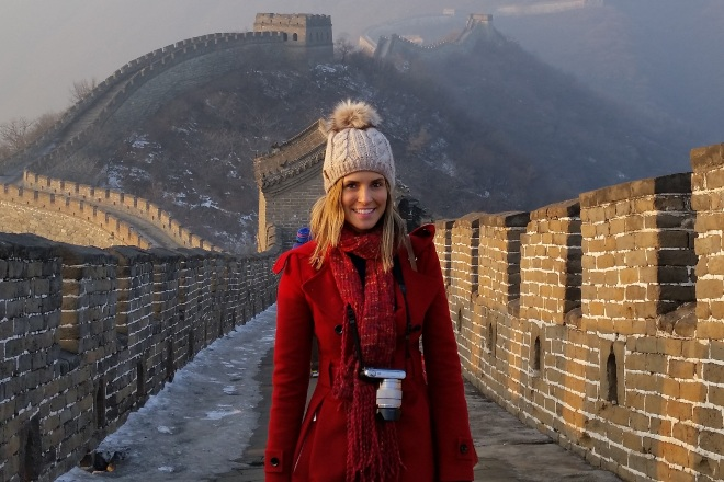 Francine standing on the Great Wall of China